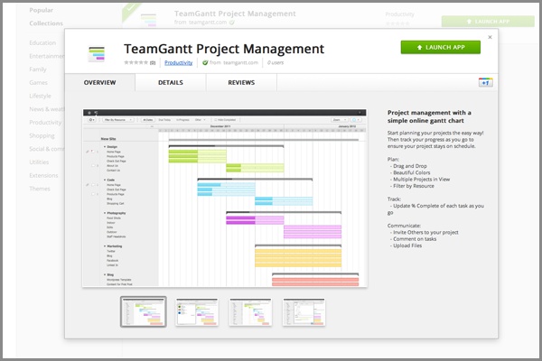 Online Gantt Chart Software now in Chrome Web Store