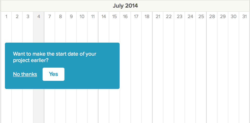 Set start date of gantt chart