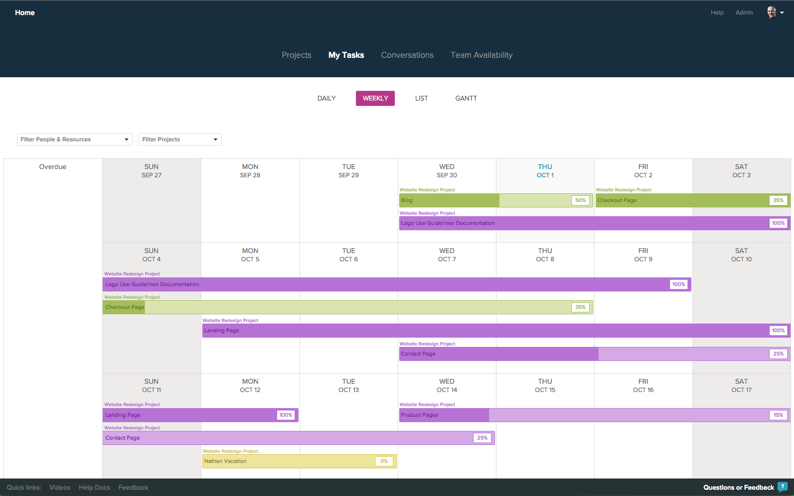 weekly task view project management