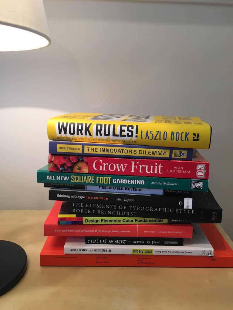 Nathan's current reading stack.