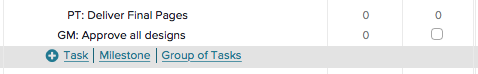Hover over the task list and select milestone
